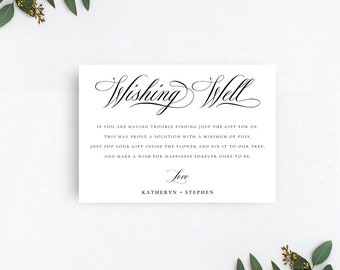 Wishing Well Cards, Wedding Wishing Well Cards, Wishing Well Poems, Classic Elegant Wishing Well Card Templates, DIY Wishing Well Cards