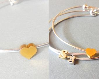 Heart Bangle Bracelet  initial bangle Tiny  Lowercase Initial Bangle Bracelet - Silver Bangle Bracelet - Bridesmaid Gifts.valentine's gift