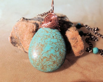 Turquoise and Copper Wire Wrap Pendant