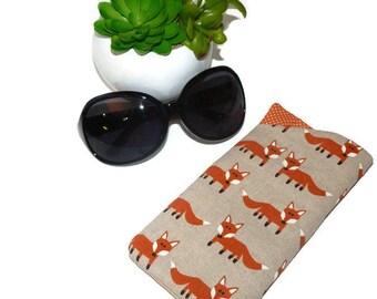 Sunglasses Case, Foxes, Padded Glasses Case, Sunglasses Pouch, Reading Glasses Sleeve, eyeglass case, Sister Gift, Mom Gift