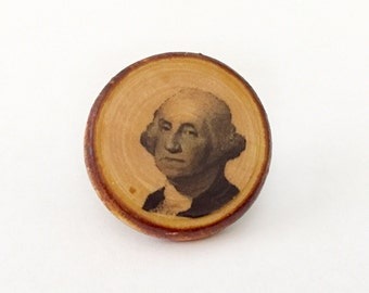 George Washington Handmade Antique-Style Pin on Stained Wood