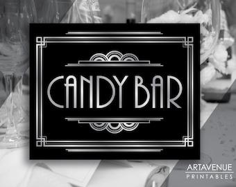 Art Deco CANDY BAR Sign Printable, Gatsby Party Decor, Gatsby Wedding, Roaring Twenties Party Decor - Black and Silver - ADBS1
