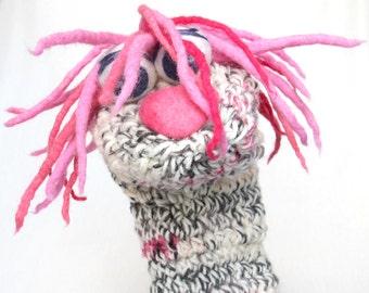 Valentine sock puppet - hand puppet, heart nose, dreadlocks,valentine gift, kids toy, kids theatre, wool,pink, felt
