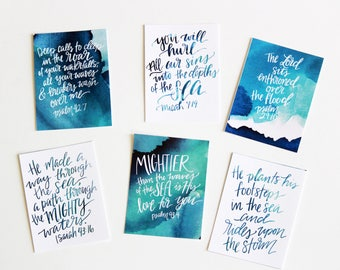 6 Peace in the Storms Watercolor Handlettered Cards Encouragement Modern Calligraphy Bible Notecard Scripture Memory
