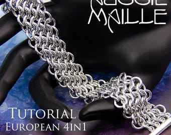 Chain Maille  Tutorial - European 4in1 on the Bias Bracelet