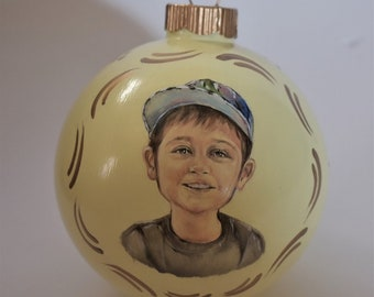 Personalized portrait paintings, custom hand painted portraits on ornaments