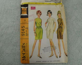 McCall's Sewing Pattern 9145 front yoked dress from 1968 size 10
