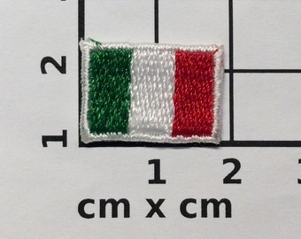 2 tiny flag italy patches iron on  patch embroidered different sizes