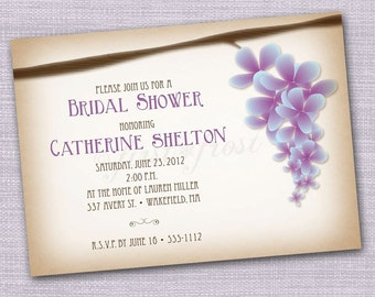 Vintage Floral Wisteria Printable Invitation - Wedding Bridal Shower Tea Luncheon