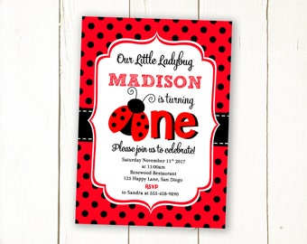 Ladybug Invitation first birthday, Ladybug invite, 1st birthday ladybug invitation, Ladybug birthday invitation, Printable, Digital file