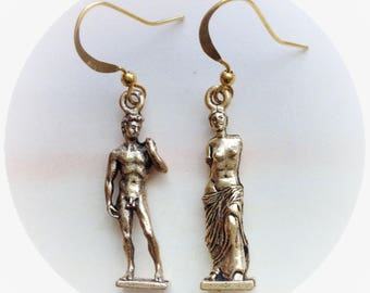David and Venus de Milo Art earrings in silver pewter or gold plated, (leave qty as 1 to receive one pair)