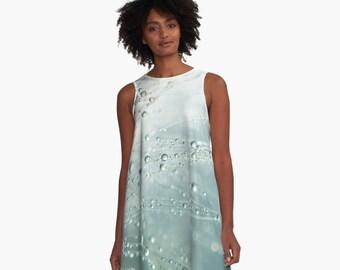A Line Dress, Wispy Blue Clothing, Blue Macro Photo dress, Printed Mini dress, A-Line Flare Dress, Blue Skater Dress, Cyan Blue Mini Dress