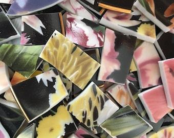 100 Mosaic China Tiles Broken Plates Floral Black Pink