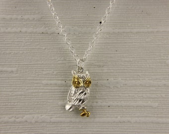 Owl Pendant in 18ct Gold on Sterling Silver.
