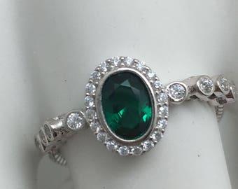 Sterling Silver Emerald Color