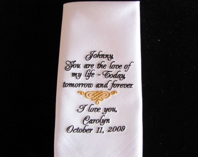 Personalized Custom Embroidered Wedding Gift From Bride to Groom, Customized Wedding Handkerchief, Accessories for Groom, Mens Hanky