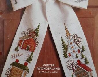 Cross Stitch KIT~Bow Ties XMAS Door Decoration~Rustic Barn+Church+Snow~MIP~11x17