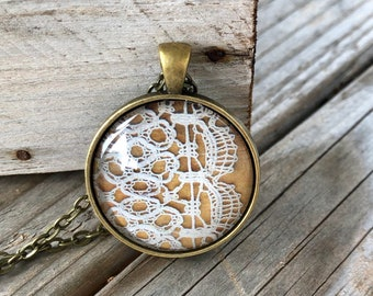 Lace Pendant Necklace Gift for Crocheter Unique Birthday Gift Industrial Whimsy Wedding