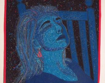 Art quilt, portrait quilt, Woman sleeping, blue wall quilt, contemporary wall quilt, modern wall quilt, modern art, gift for her