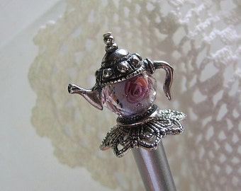 Tea in the Rose Garden Tea Pot Victorian Hair Stick or Shawl Pin