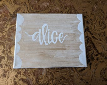 Hand Lettered Name on Canvas