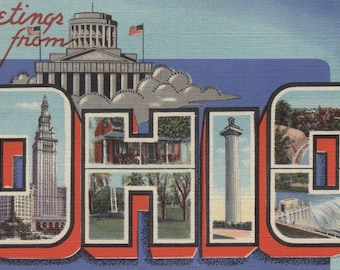 Greetings from Ohio (Blue/White Trim) - Vintage Halftone (Art Print - Multiple Sizes Available)