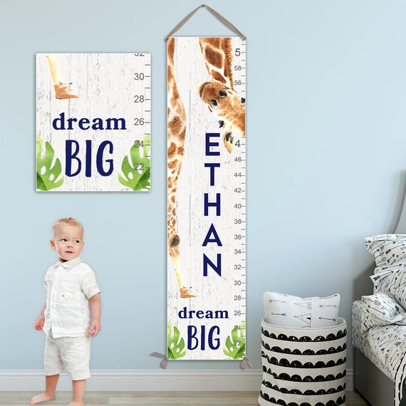 Giraffe Growth Chart - Personalized Canvas Growth Chart, Giraffe, Giraffe Gift, Giraffe Print, Jungle Baby, Animal Prints  - GC4012WW