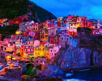 Manarola Photography, Italy Fine Art Photography, Cinque Terre, Manarola, Colorful, Fine Art Photography, Large Wall Art, Home Decor
