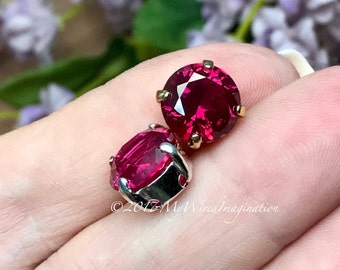 10mm Lab-Created Ruby, Faceted Gemstone ,SP or GP Sew On Setting, Gemstone Setting, Sew On Gemstone, Lab Created Ruby, July Birthstone