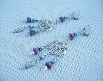 Earrings silver, blue and violettes