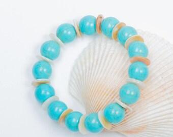 Turquoise Bead Bracelet with Sea Shell Discs, Womens Turquoise Bracelet