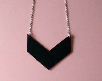 Chevron Leather Necklace, Black Leather Necklace, Chevron Leather Pendant