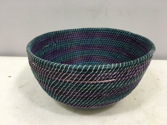 Basket African Lesotho Teal Blue Purple Woven South Africa Handmade Hand Woven Coiled Woman Unique SM22