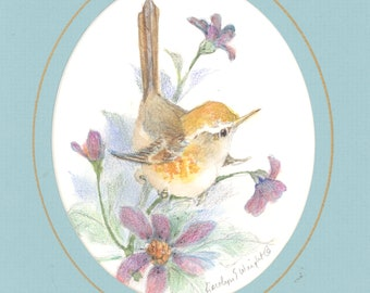 Spring Warbler 7 x 6 matted original watercolor