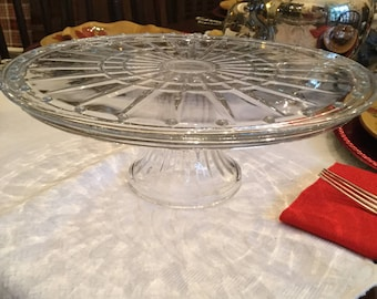 "Lovely Vintage Clear Glass Round Cake Plate/Stand/Pedestal-12"" x 4 1/4"""