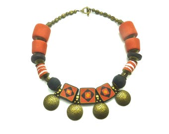 African necklace with large Tan and bronze beads