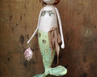 Mermaid, Sea, Spring, Folk Art, Paperclay