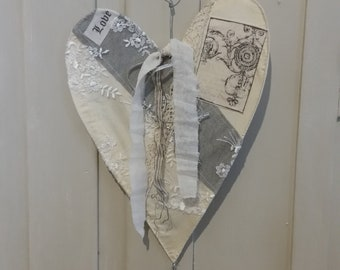 Vintage shabby chic lace heart decoration
