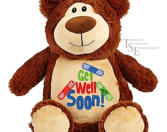 Get well gift/Bear Cubby/Machine Embroidered/Brown Bear/Stuffed Animal/Customizable gift/Bear plushy