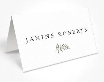 Rustic Wedding Place Cards, Minimal Design, Watercolour Leaf Placecards, Name Cards, Natural Suite, DEPOSIT, Peach Perfect