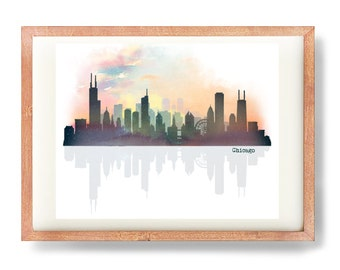 Chicago Skyline, Digital Art Print, Digital Chicago Skyline, Chitown Art Print, Digital Art, Watercolor Skyline, Urban Art Print