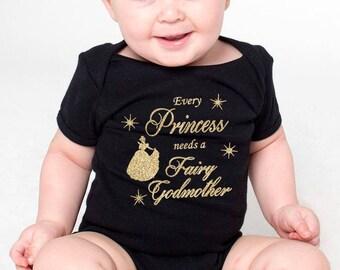 fairy goddaughter, fairy godmother onesie or t-shirt, goddaughter gift, godmother gift, godparent gift godmother shirt (gold glitter design)