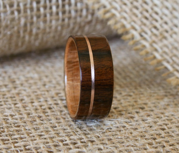 Mens Wooden Wedding Band With 14k Rose Gold Inlay In Cross Grain Santos Rosewood Curly Cherry Lining Hand Crafted Ring