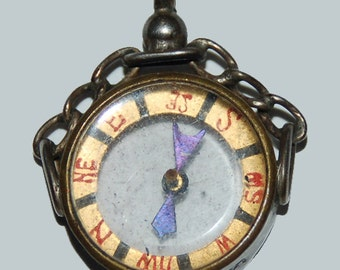 Genuine Vintage Sterling Silver Edwardian Watch Fob Compass -- Free Shipping!