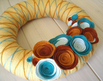 Yarn Wreath Felt Handmade Door Decoration -  Crossing The Line 12in