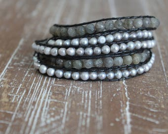 labradorite and freshwater pearl wrap bracelet with dark leather string