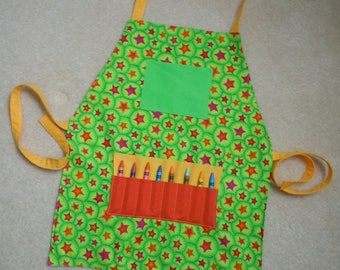 Childs apron, reversible, childrens aprons, toddler apron, art apron, chef apron, child craft apron, kid's apron, kitchen apron, kids apron