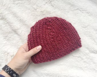 Red Toddler Hat // Handknit Beanie // Ready to Ship