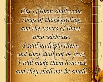 Church Bulletins, Worship Bulletins Jeremiah 30:19  8.5x11,Digital Download,Printable