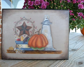 Hand painted still life plaque on wood